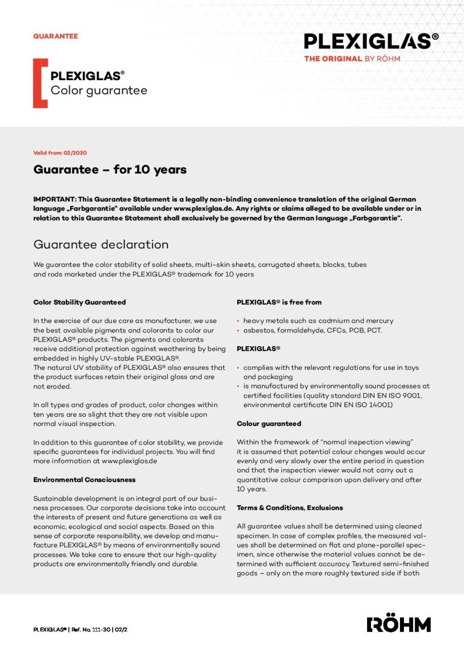 111 30 PLEXIGLAS color guarantee pdf - Technical Library