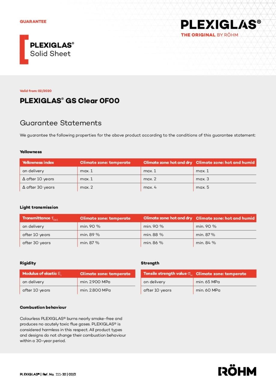 111 32 PLEXIGLAS GS Clear 0F00 pdf - Technical Library
