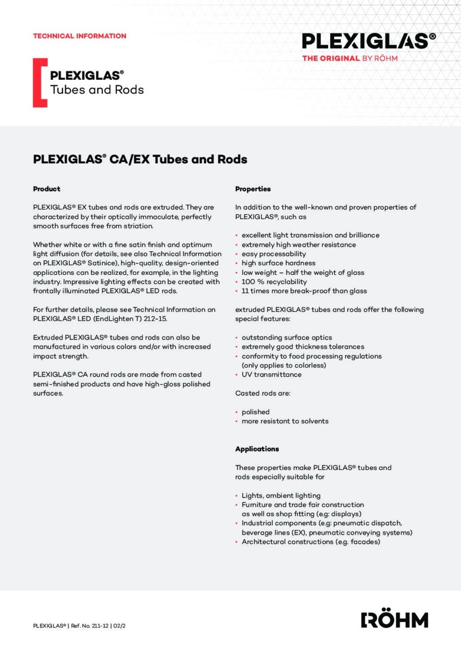 211 12 EN PLEXIGLAS rods and tubes pdf - Technical Library