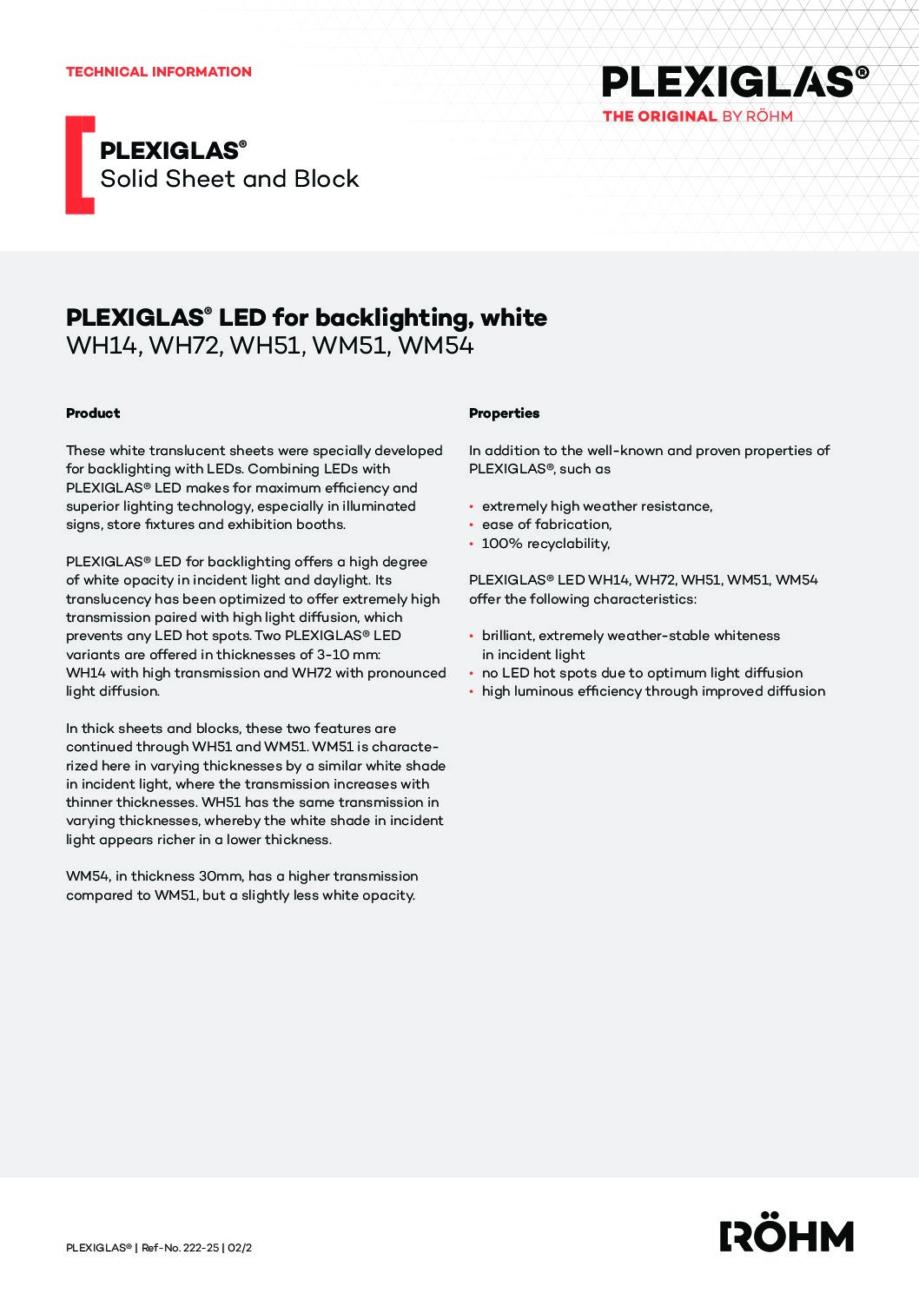 222 25 PLEXIGLAS LED back lighting white pdf - Technical Library