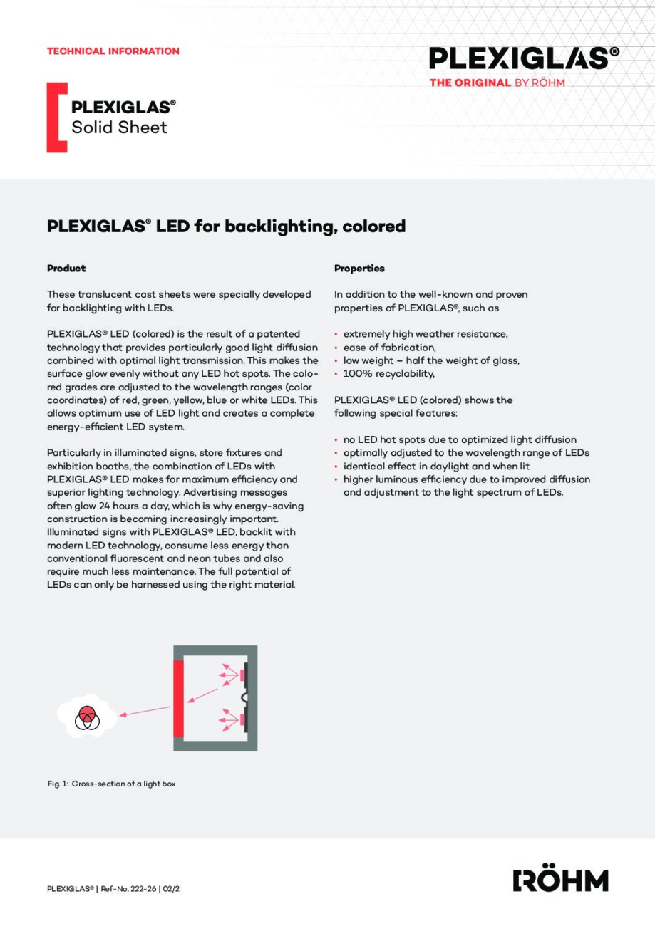222 26 PLEXIGLAS LED backlighting colored pdf - Technical Library
