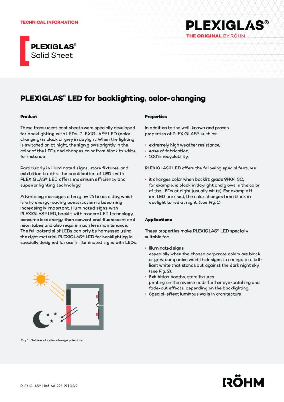 222 27 PLEXIGLAS LED back lighting color changing pdf - Technical Library