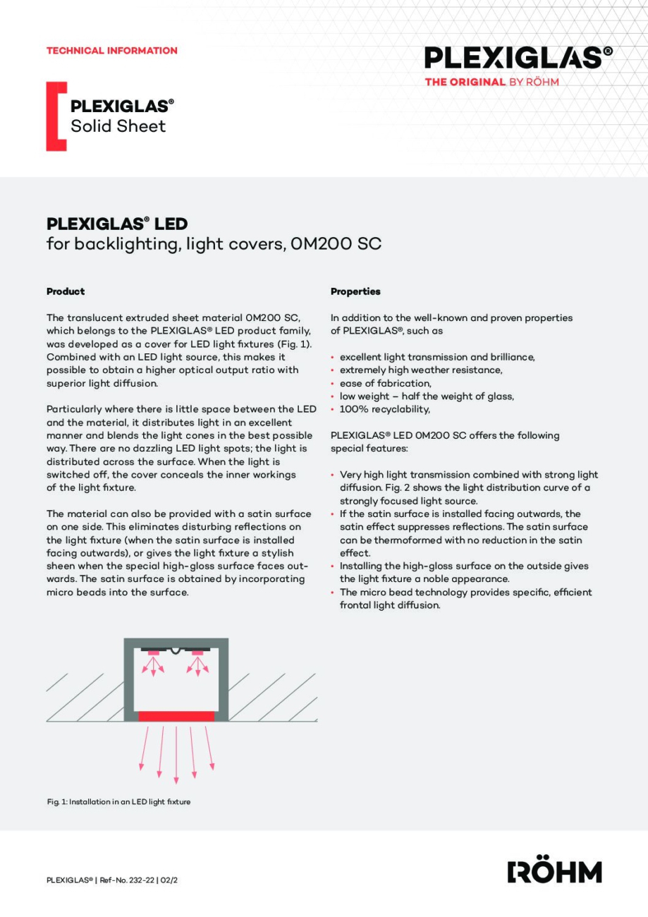 232 22 PLEXIGLAS LED back lighting 0M200 SC pdf - Technical Library