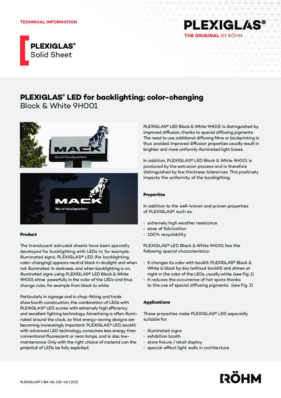 232 40 PLEXIGLAS LED back lighting 9H001 pdf - Technical Library