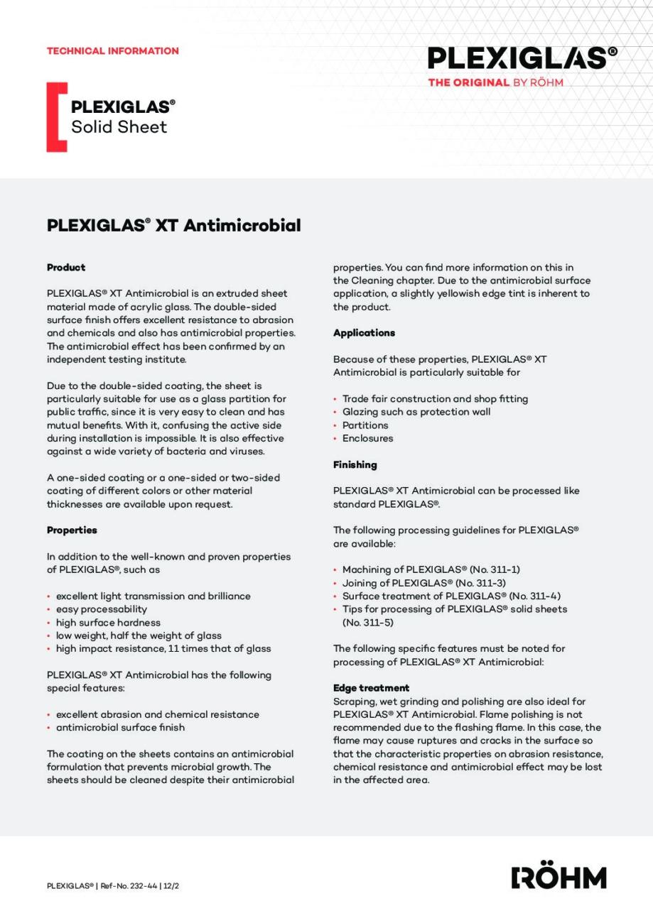 232 44 PLEXIGLAS XT Antimicrobial EN pdf - Technical Library