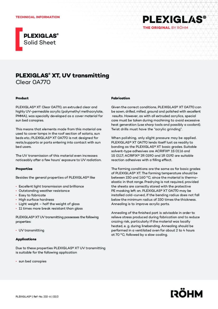 232 6 PLEXIGLAS XT UV transmitting clear 0A770 pdf - Technical Library