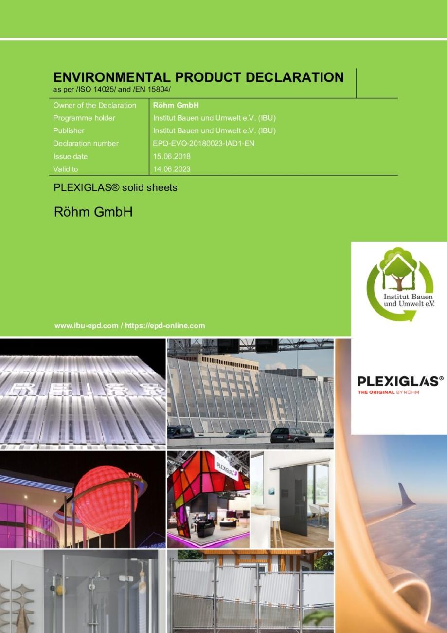 EPD Environmental statement PLEXIGLAS solid sheets pdf - Technical Library