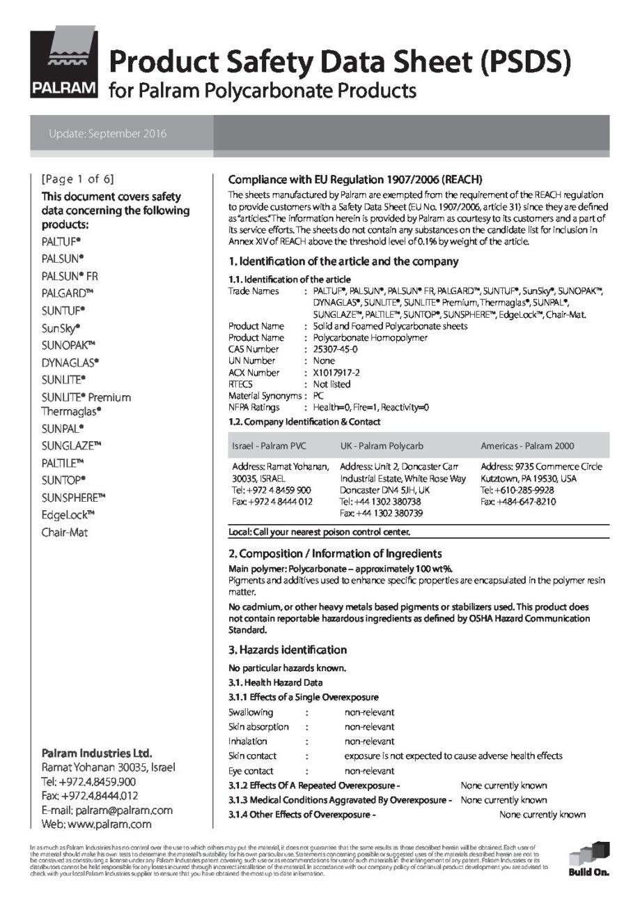 Palram PSDS Polycarbonate 601177 pdf - Technical Library
