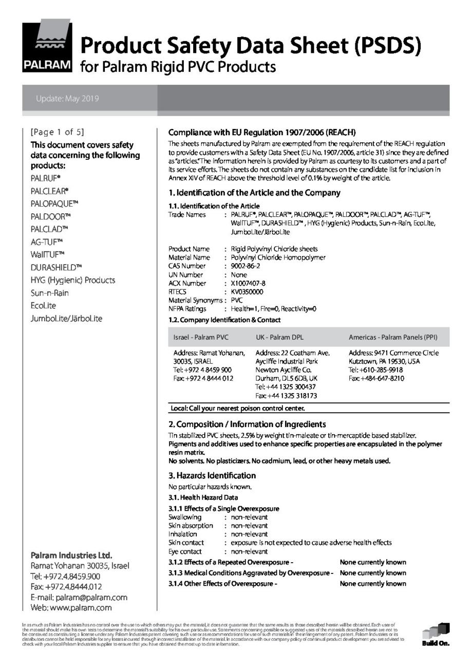 Palram PSDS Rigid PVC 1 pdf - Technical Library